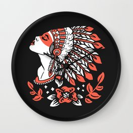 Indian cute lady, Hand drawn illustration of apache indian girl Wall Clock