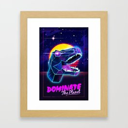Electric Jurassic Rex - Dominate the Planet Framed Art Print
