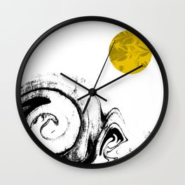 Abstract painting modern minimal gold black and white space out space art Wall Clock
