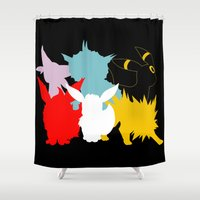 eevee Shower Curtains featuring Evolutions by Tdrisk46