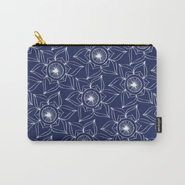 Navy blue white hand drawn floral mandala Carry-All Pouch