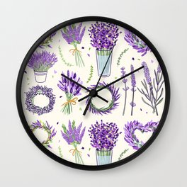 Modern ivory lavender purple vector floral pattern Wall Clock