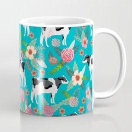 Holstein cattle farm animal cow floral Coffee Mug