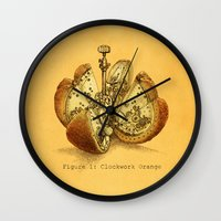 yetiland Wall Clocks featuring Steampunk Orange  (color option) by Eric Fan