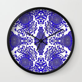 Vintage Blue-Purple  White Floral Spider Mums Art Wall Clock