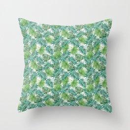 Mini Green Monstera Tropical Plant Pattern Throw Pillow