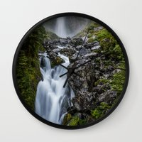 waterfall Wall Clocks featuring Waterfall. by Michelle McConnell