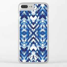 White and blue abstract watercolour Clear iPhone Case