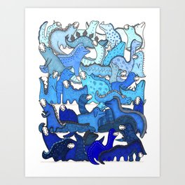 Blue Dinosaur Gradient Art Print