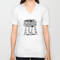 volkswagon V-neck T-shirts featuring VW Minibus AT-AT Walker by robotface