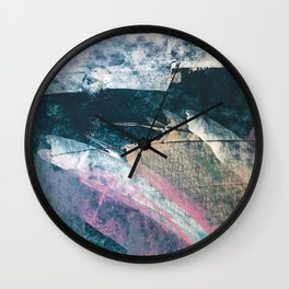 Karma [1]: a vibrant, abstract mixed-media piece in pink, peach, white and teal Wall Clock