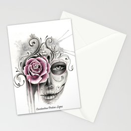 Rose Sugar Skull Stationery Cards