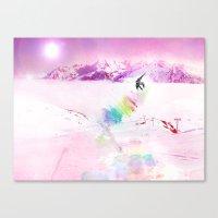 snowboard Canvas Prints featuring Snowboard & Mountain by Julien Kaltnecker