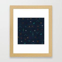 Cactus Silk Pattern in Navy Blue Framed Art Print