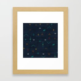 Cactus Silk Pattern in Navy Blue Framed Art Print