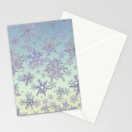 Snowflakes Embroidered on Misty Sky Stationery Cards
