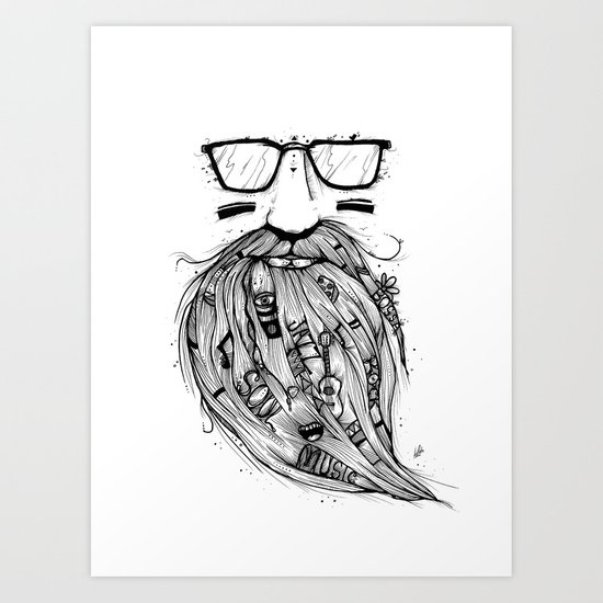 Beard Me Some Music (Black & White) Art Print