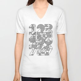 Geo Numbers Collage Unisex V-Neck
