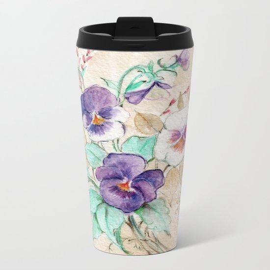 Pansies Bouquet Metal Travel Mug