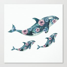 Rose Garden Whales Canvas Print