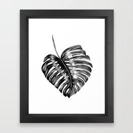 Monstera leaf black watercolor illustration Framed Art Print