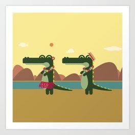 Crocodiles Hula Hula Art Print