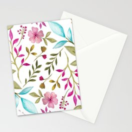Watercolor Botanical Floral Leaves by Ms. Parasol Stationery Cards