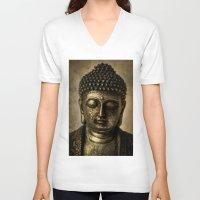 meditation V-neck T-shirts featuring Meditation by inkedsandra