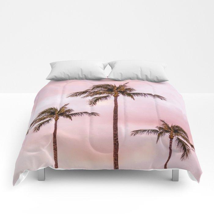Palm Tree Photography | Landscape | Sunset Unicorn Clouds | Blush Millennial Pink Comforters