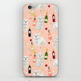 Maltese dog breed wine champagne summer pattern dog gifts pet friendly dogs iPhone Skin