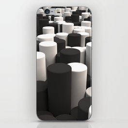 Pattern of black and white cylinders iPhone Skin
