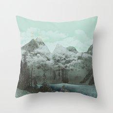 The Mountain Lake (Green) Throw Pillow