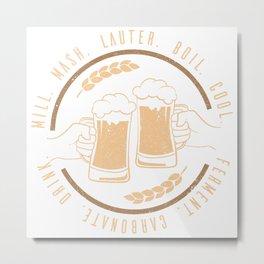 Craftbeer Beer Glas Drinking Badge Metal Print