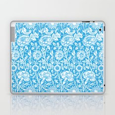 "William Morris Floral Pattern | ""Pink and Rose"" in Turquoise Blue and White Laptop & iPad Skin"