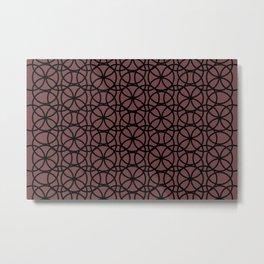 Pantone Red Pear and Black Rings, Circle Heaven, Overlapping Ring Design Metal Print
