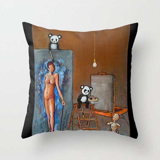 Painting Pandas Throw Pillow