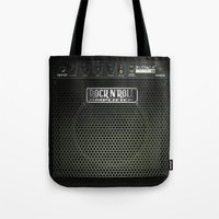 rock n roll Tote Bags featuring Rock N´Roll amplifier by Nicklas Gustafsson