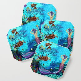 A Fish of a Different Color - Mermaid and seaturtle Coaster