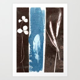 Feather, Shamrock and Grass, Botanical Print, Blue Print, Brown Print, Vintage Print, Nature Print Art Print
