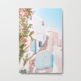 Santorini Greece Mamma Mia pink-peach-white travel photography in hd. Metal Print