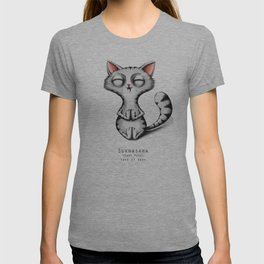 yoga cat sukhasana T-shirt