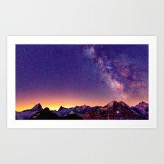 Sunset Mountain #stars Art Print