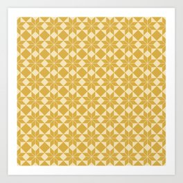 8 Point Star Pattern (Spicy Mustard on Pale Mustard) Art Print