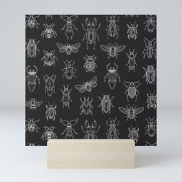 Insects Pattern (Black) Mini Art Print