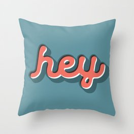 Hey Blue & Red Typography Print Funny Poster Letterpress Style Wall Decor Home Decor Throw Pillow