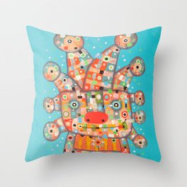 Clown with Flower Throw Pillow