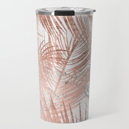 Tropical modern faux rose gold palm tree leaf white marble pattern Travel Mug