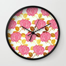 Numble Gold | Pink roses golden flowers pattern Wall Clock