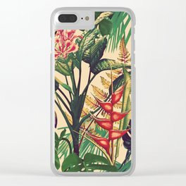 Vintage Tropical Flora (green) Clear iPhone Case
