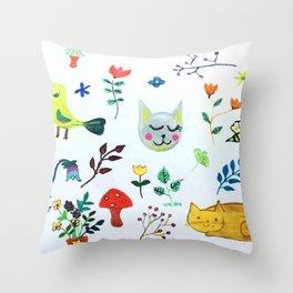 Party in the Garden Throw Pillow